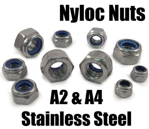 M36 M4 M6 M8 M10+ A2 /& A4 Stainless Steel Nyloc Insert Nuts Nylon Locking M1.6