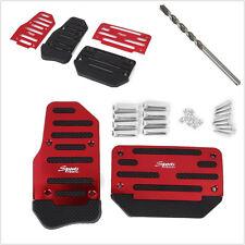 2 Red Non-Slip Car Automatic Brake Accelerator Foot Pedal Treadle Pad &Drill Bit