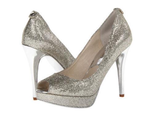 Michael Kors Size 7 M York Silver Glitter Platform HEELS Womens ...