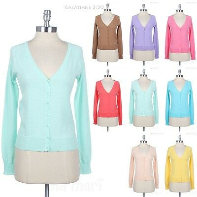 Long Sleeve V Neck Front Button Cotton Cardigan Solid and Plain Comfortable Easy