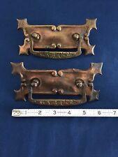 2 Vintage Art Nouveau Pressed Metal Copper Coated Drawer Pull Handles