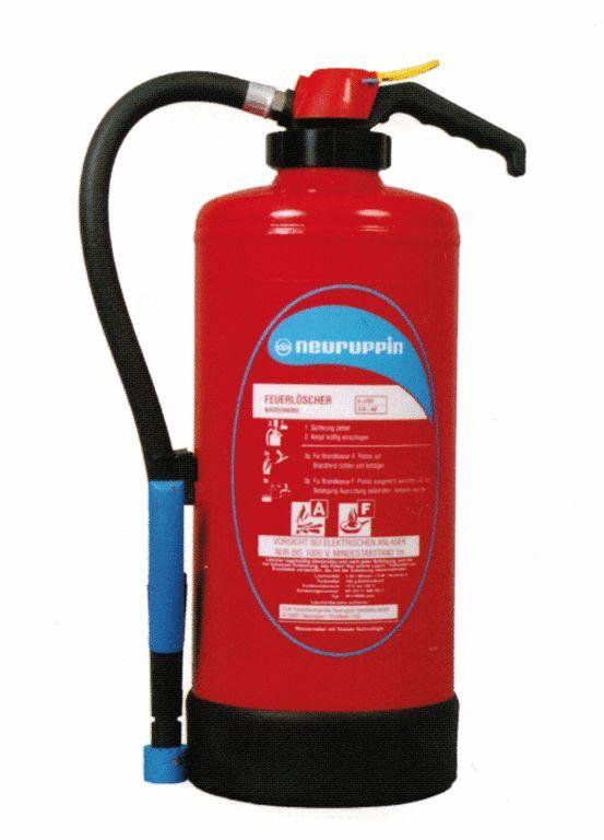 Auflade-Feuerlöscher 6Liter Wassernebel W6WNA Neuruppin 13A 40F 4LE Fettbrand