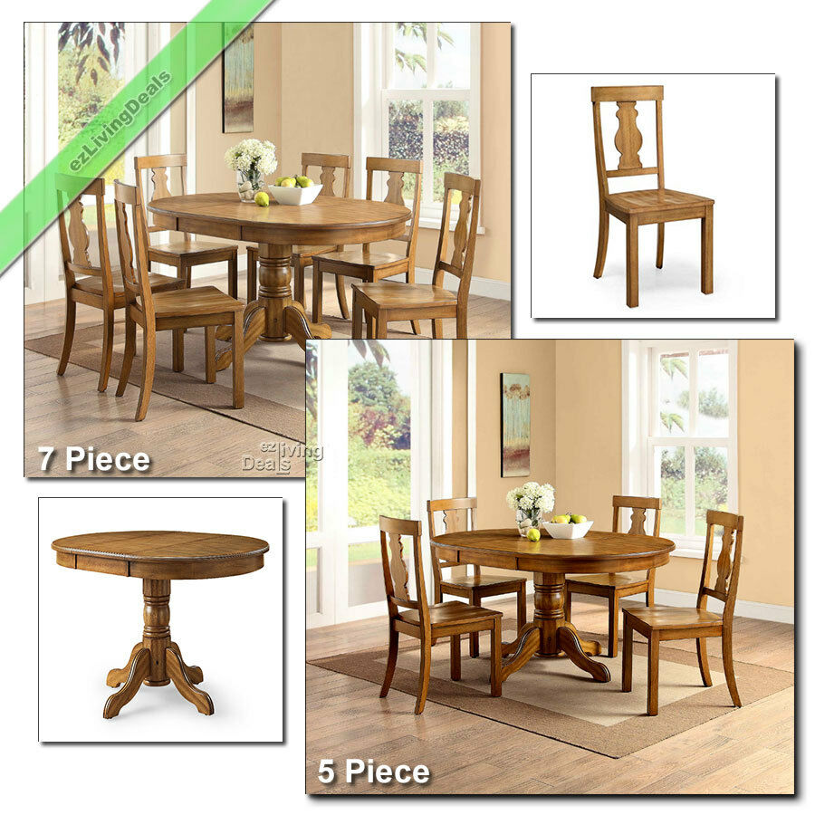 Country dining room sets farmhouse table chairs wood 5 pc for Farmhouse dining room table set