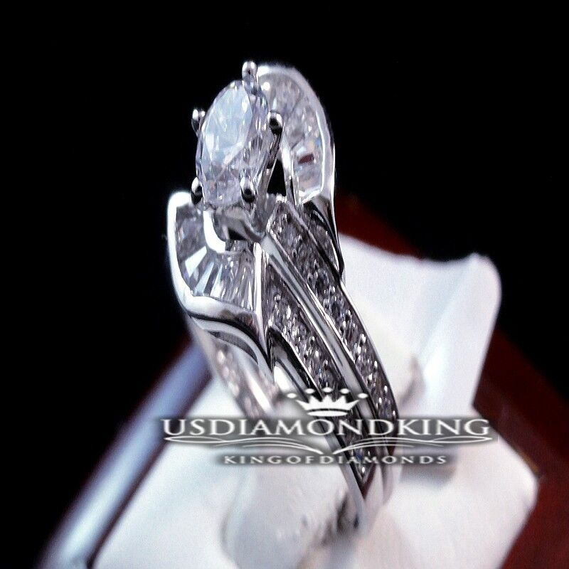 LADIES WOMEN 2PCS ROUND SOLITAIRE CUT WEDDING ENGAGEMENT WEDDING DUO BRIDAL SET