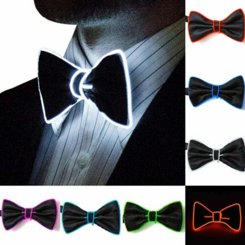 Flashing Light Up Bow Tie Necktie LED Mens Party Lights Sequins Bowtie Wedding