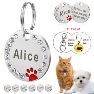 Dog-Tags-Personalized-ID-Name-Engraved-Pet-Cat-Dog-Bling-Rhinestone-Cute-Paw-Tag