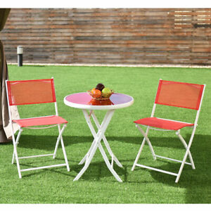 Groovy Details About 3 Pcs Folding Bistro Table Chairs Set Garden Backyard Patio Furniture Red New Bralicious Painted Fabric Chair Ideas Braliciousco