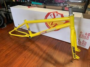 S-amp-M-BIKES-STEEL-PANTHER-RACE-FRAME-YELLOW-21-FORK-KIT-BMX-20-034-BIKE-21-034-RACING