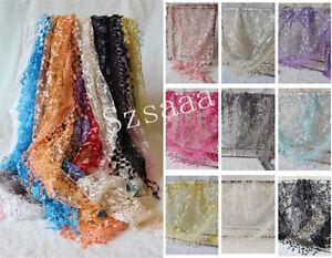 New-Triangle-Women-Sheer-Lace-Knit-Tassel-Mantilla-Hollow-Wrap-Shawl-Scarf-Hot