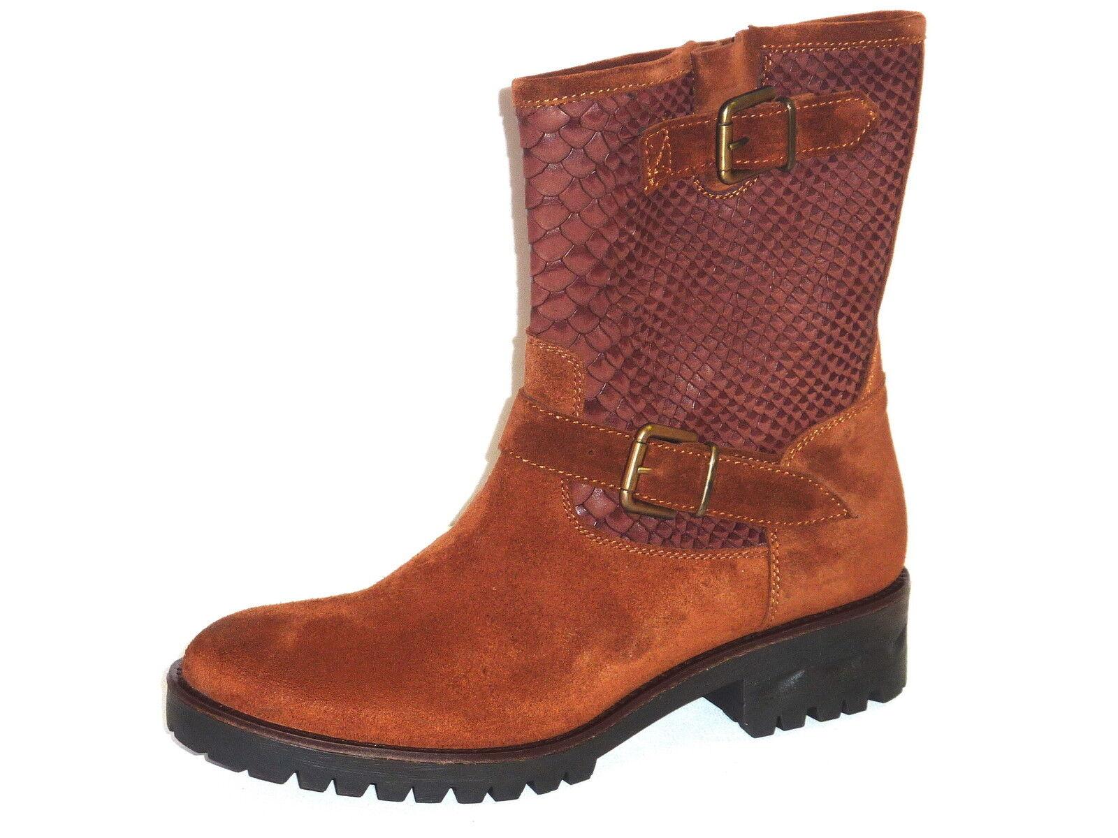 Zapatos especiales con descuento STIVALETTI DONNA POMPIERINO PELLE CAMOSCIO CUOIO E STAMPATO PITONE MODA n. 40