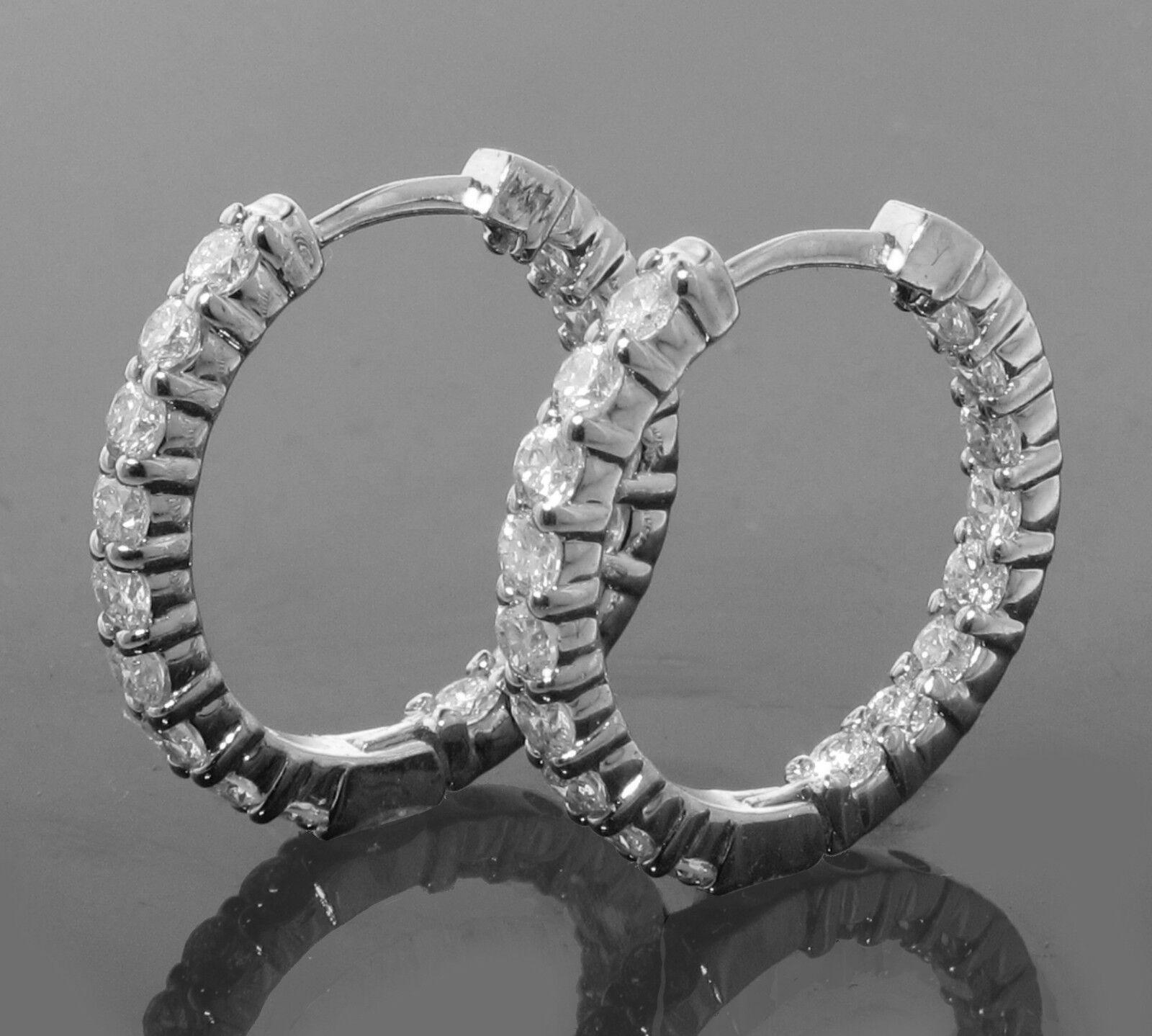 2.15 CT Inside Outside Diamond Hoops in 18k White gold New