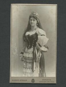 Berlin-Germany-1906-CDV-Photo-of-Young-Woman-in-Ethnic-Costume-with-Tambourine