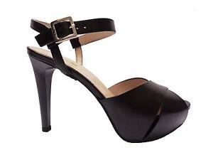 Nero Giardini 17900 sandali da donna in pelle Nero tacco cm. 11 plateau cm. 3