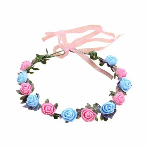 Bridal Headband Foam Rose Flower Wreath Crown Wedding Ribbon Garland Headpiece