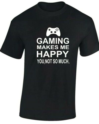 Kids Boys Girls GAMING MAKES ME HAPPY T-Shirt funny Men/'s geek gamer ps4 Tshirt