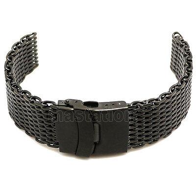 Width Web Mesh Wrist Watch Band Strap Bracelet Stainless Steel Buckle Mens