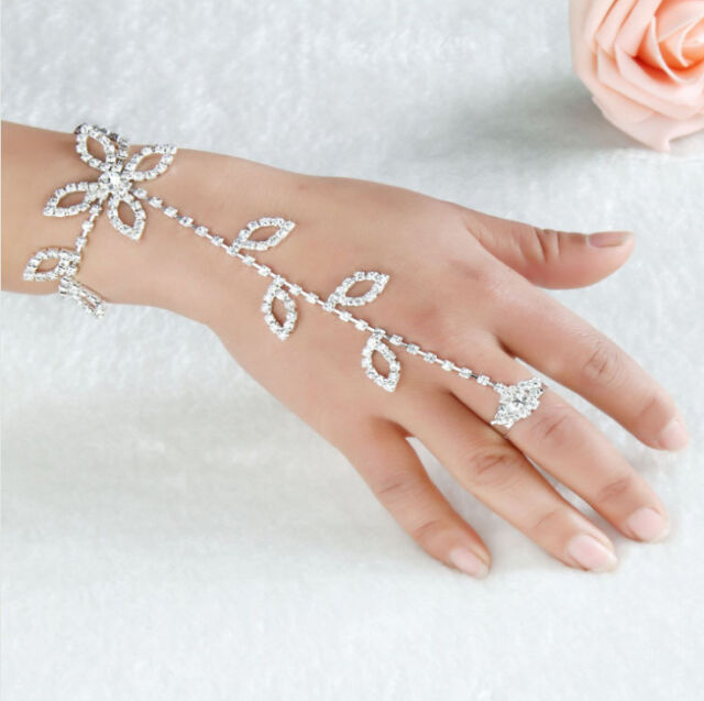New Shiny Crystal Rhinestone Hand Harness Bracelet Slave Chain Link Finger Ring
