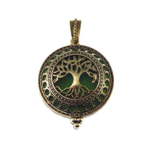 1pc Bronze Brass Hollow Life Tree Locket Aromatherapy Oil Diffuser Pendant Craft