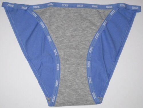 NWOT VICTORIA/'S SECRET PINK GRAY BLUE WHITE LOGO STRING BIKINI LOW RISE PANTIES