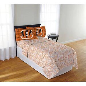 Image Is Loading Cincinnati Bengals Sheet Set Nfl Full Bed Ed