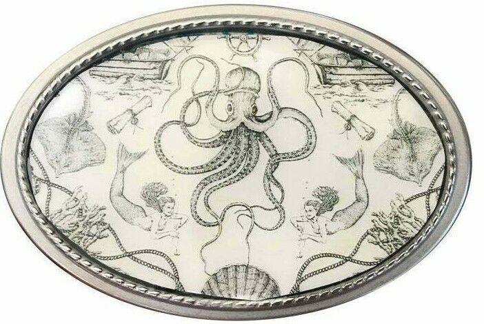 Vtg Nautisch Aufdruck Gürtel Schnalle Kunst Octopus Shipwreck Fisch Meer Ozean