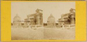 Italia Pisa Ca 1870 Foto Stereo Vintage Albumina