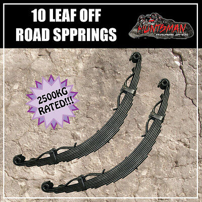 PAIR 10 LEAF OFF ROAD TRAILER SPRINGS. 2500KG. REBOUND STRAPS. CAMPER CARAVAN