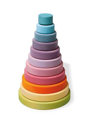 Affidabile Grimm's Gioco E Legno Design 11001 - Grande Disco Torre Pastello Da Infilare