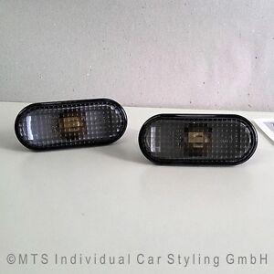SCHWARZE-Seitenblinker-VW-Golf-4-R32-Bora-Lupo-Polo-9N-Passat-3B-Fox-Bus-T5-up