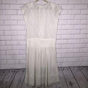 VIntage-Jessica-McClintock-sz-9-Gunne-Sax-Lace-Dress-White-Ivory-80-s-Made-USA