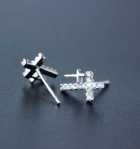 7x10mm 925 sterling silver Stud Earrings Faith Cross Cubic Zirconia gift BoxK20A