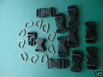 10 X15mm WEBBING BUCKLE CLIPS FASTNERS CLASPS AND 10 X15 mmSTEEL D RINGS CRAFT