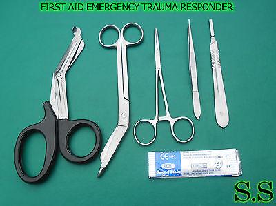 5 PCS FIRST AID EMERGENCY TRAUMA RESPONDER KIT+5 SURGICAL BLADES #21 INSTRUMENTS
