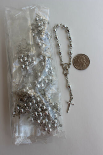 12 decade rosaries w organza POUCHES pink blue gold baptism wedding party favor
