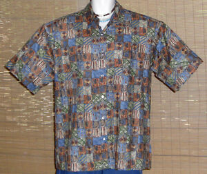 Tori-Richard-Hawaiian-Shirt-Blue-Brown-Green-Tan-Blocks-Size-Large