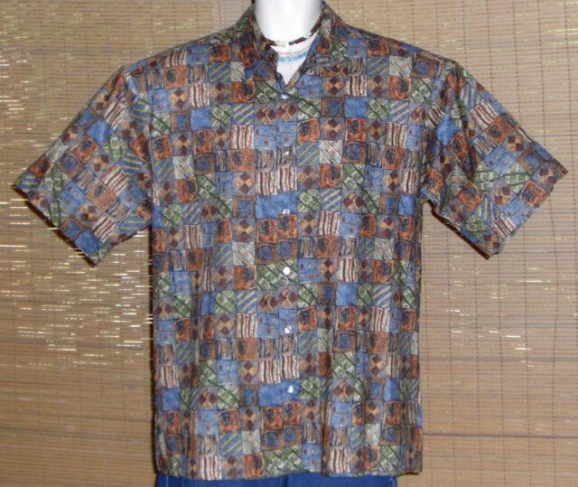 Tori Richard Hawaiian Shirt Blue Brown Green Tan Blocks Size Large