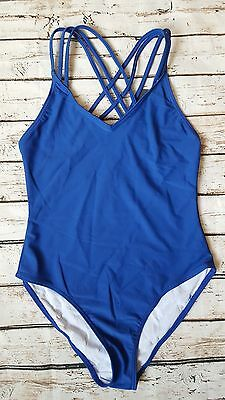 New French Connection Tapir Wave Print Swimsuit sz XS in Black//Blue//White