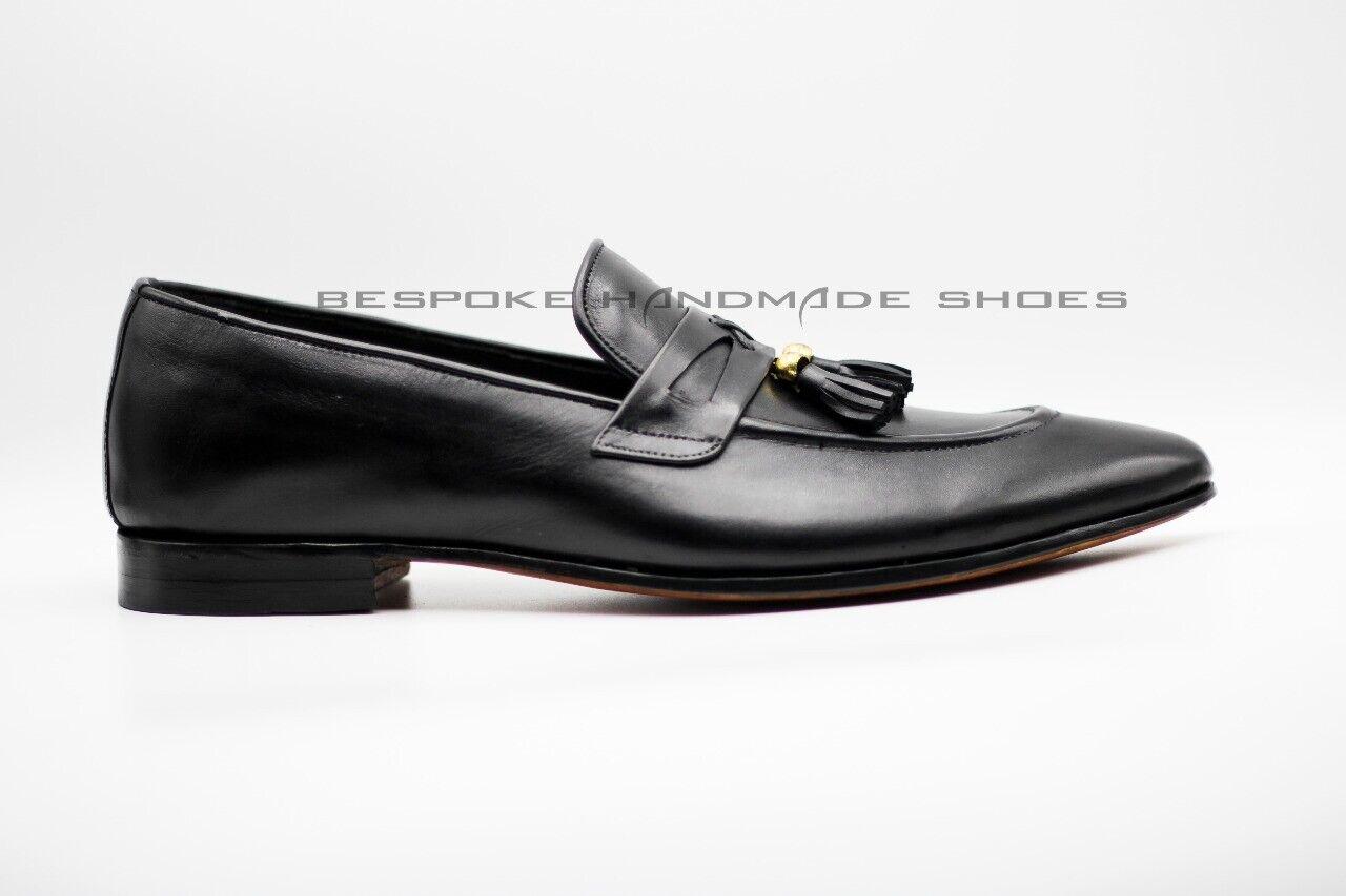 Hombre Cuero Genuino Negro Hecho a Mano Slip On Flecos Formal Zapatos