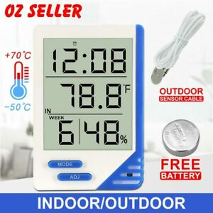 THERMOMETER-HYGROMETER-INDOOR-OUTDOOR-TEMPERATURE-HUMIDITY-METER-DIGITAL-WEEK