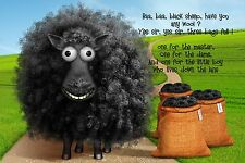 Baa Baa Black Sheep 30x20 Inch Canvas - Nursery Rhyme Framed Picture Print