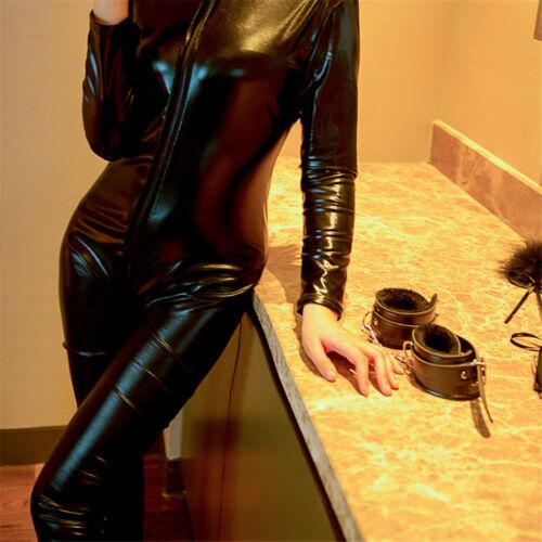 Fever Miss Whiplash Vinyl Suit Black Catsuit Catwoman Fancy Dress Costume HE