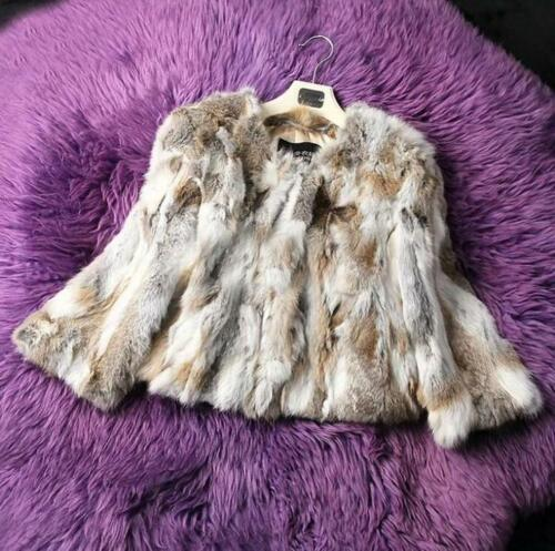 Ladies Warm Furry Nye kvinder Outwear 100 ægte Rabbit Parka pelscoatjakke Short RIR8TqY