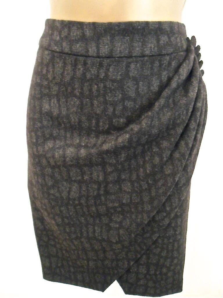 Donna Karen Millen Grigio Scuro Coccodrillo Mix di lana stampa animale drappeggiato gonna inverno SZ