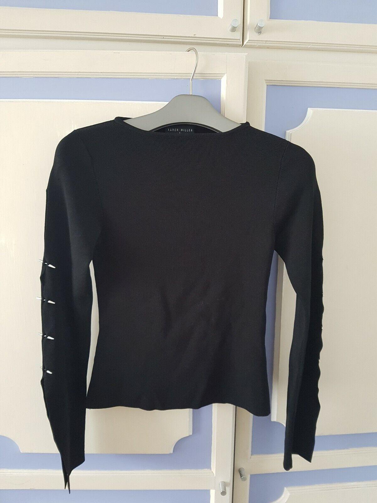 Karen Millen Top with split studded sleeves, size 1 or UK8 - VGC