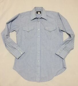 Flying-R-Ranchwear-Mens-15-33-Pearl-Snap-Western-Shirt-Blue-Striped-USA-Made