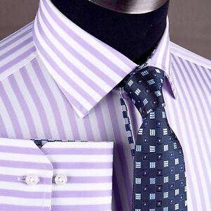 Purple-Striped-Formal-Business-Dress-Shirt-Luxury-Boss-Lilac-Soft-Violet-Pattern