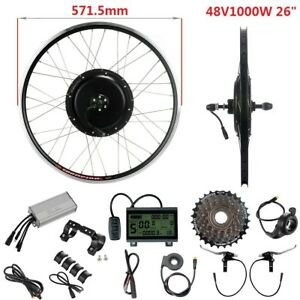 "48V1000W 26"" Rear Motor Freewheel E-Bike Hub Conversion DIY Retrofit Kit Black"