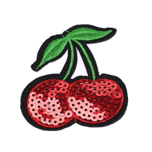 cherry Embroidery Iron sew on patch applique DIY clothing Sequins 6.8*7.7cm �Pop