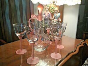 Antique-Elegant-Crystal-Decanter-Pink-Stopper-w-6-swirl-pink-Stem-Wine-Glasses