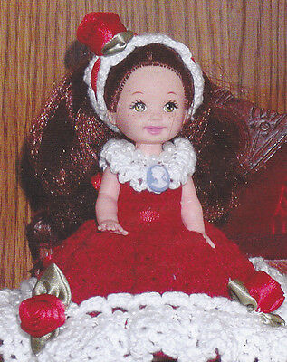 Crochet Pattern ~ SWEETHEART DOLL GOWN Dress Valentine ~ Instructions